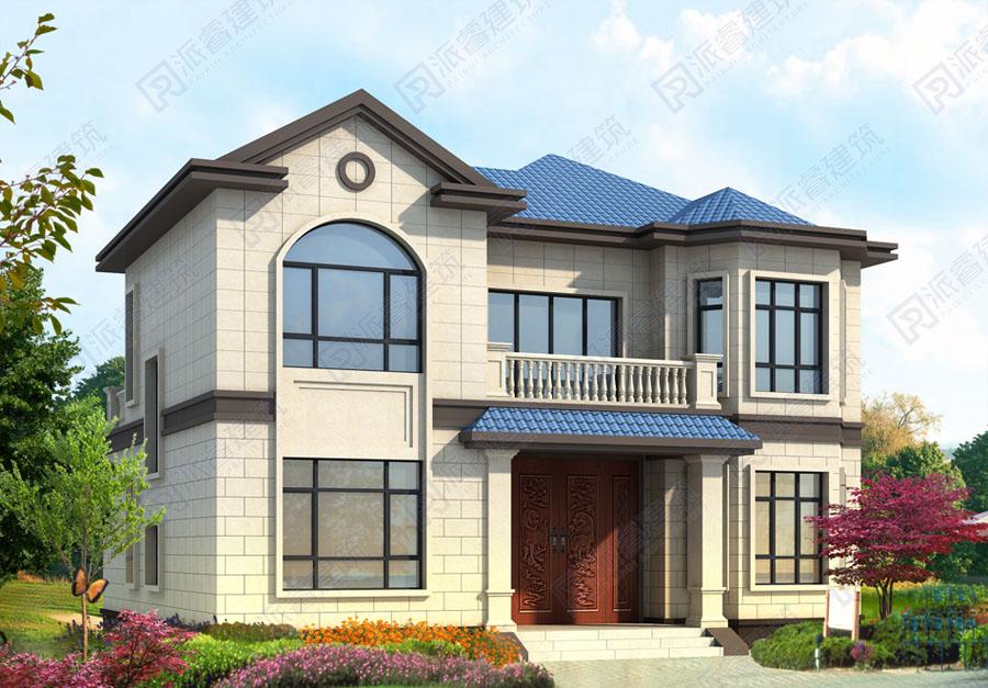 130平二层农村自建房设计图,最新法式风格别墅外观效果图带前后双阳台-PR498