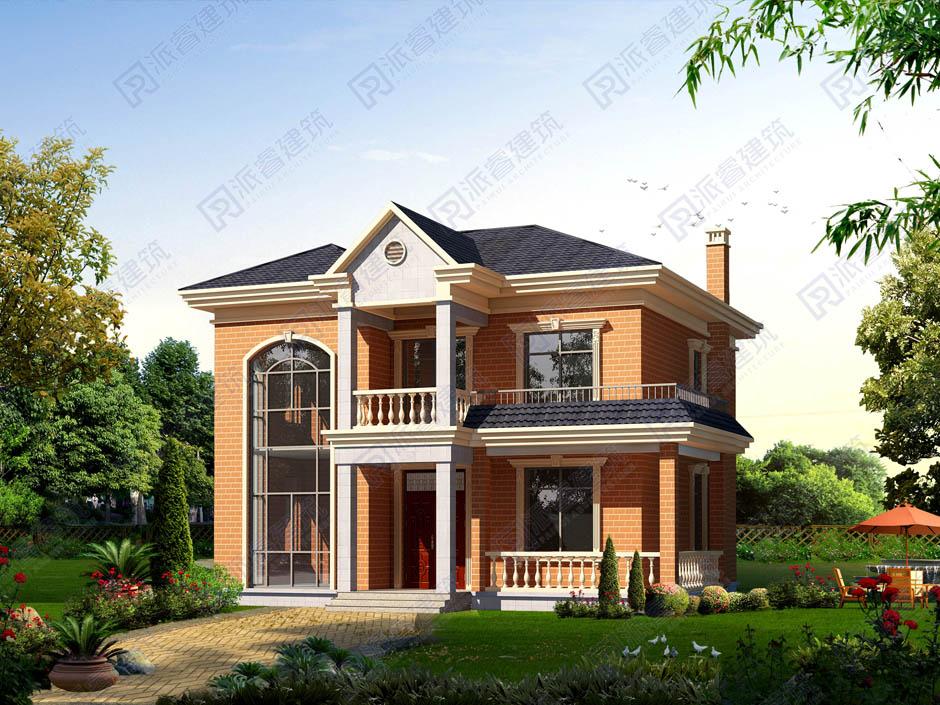 长11米x宽11米农村自建房设计图纸,漂亮养眼的二层复式小别墅外观效果图-PR204