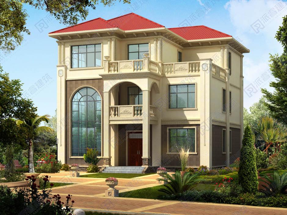 好看又实用的新农村三层楼房别墅设计图_带复式客厅-PR234