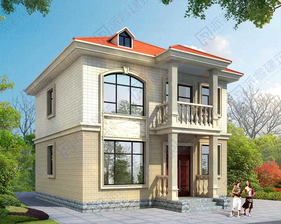 最新款农村自建小面积欧式二层半别墅设计图,独栋带老虎窗的屋顶造型-PR493