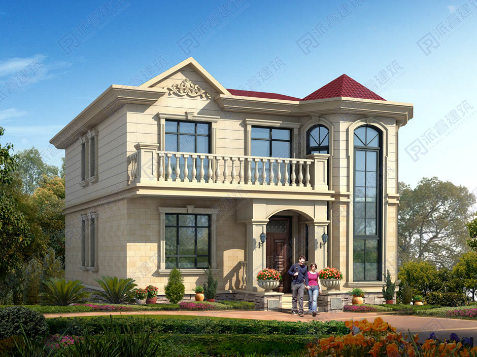 两层漂亮的农村小别墅全套设计图纸,115平乡村复式挑空带旋转楼梯的别墅样式图-PR448