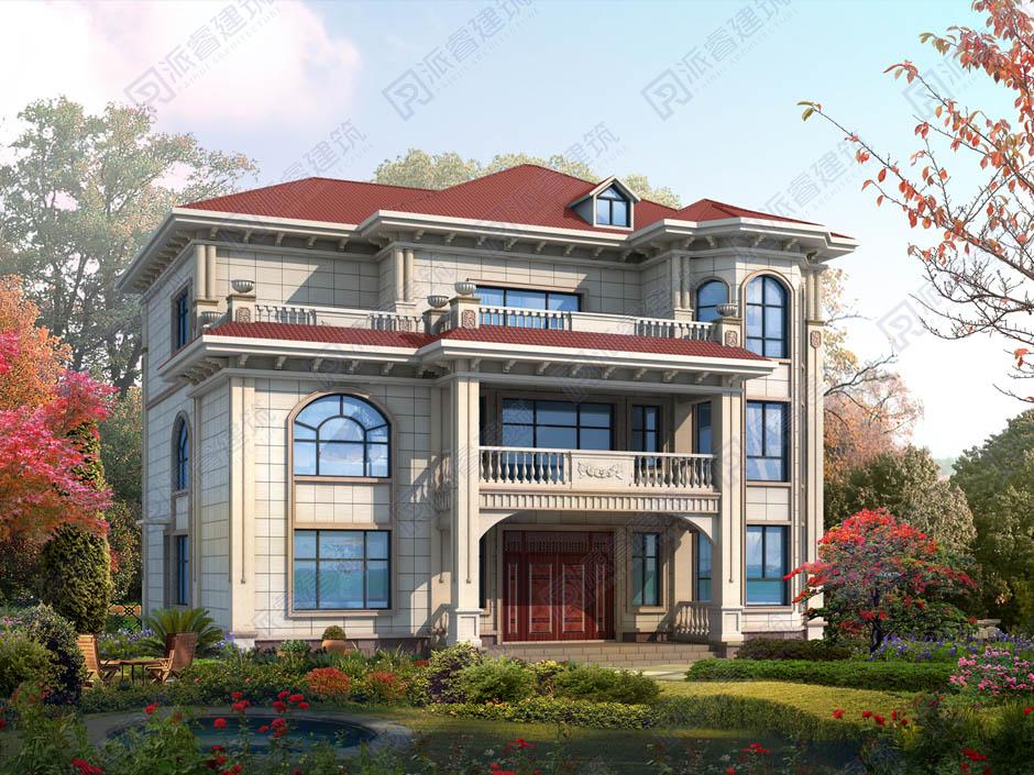 PR449 美丽乡村欧式外观别墅全套设计图纸_豪华别墅,新农村别墅,农村自建房设计,派睿建筑