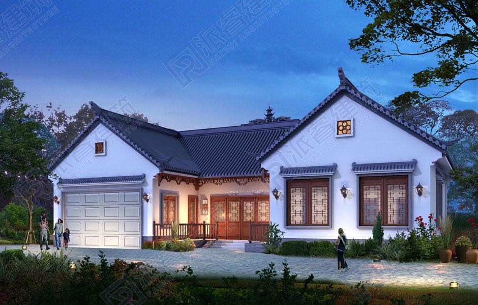 农村自建中式三合院设计图一层,古韵悠长-派睿建筑