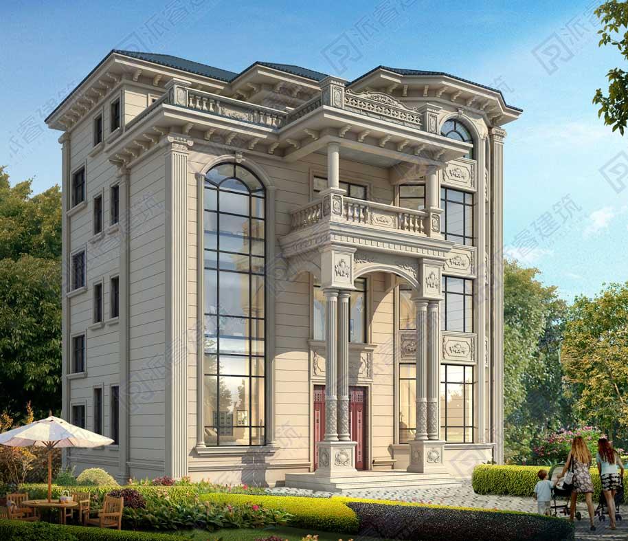 PR570-158平农村四层欧式别墅设计图纸及效果图-四层自建房设计图,豪华复式,气派壮观