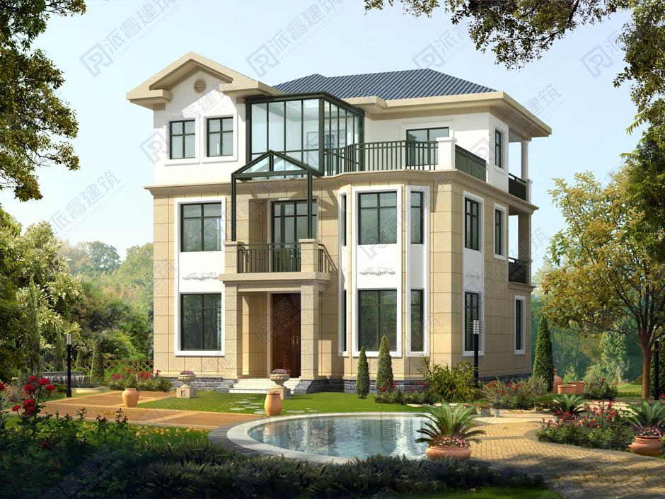 PR039 框架结构三层带露台别墅设计图纸及效果图