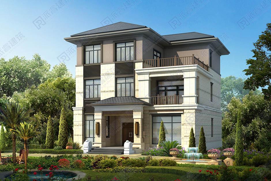 農村自建新中式三層別墅設計外觀效果圖,占地165平,端莊大氣的高級感-PR500