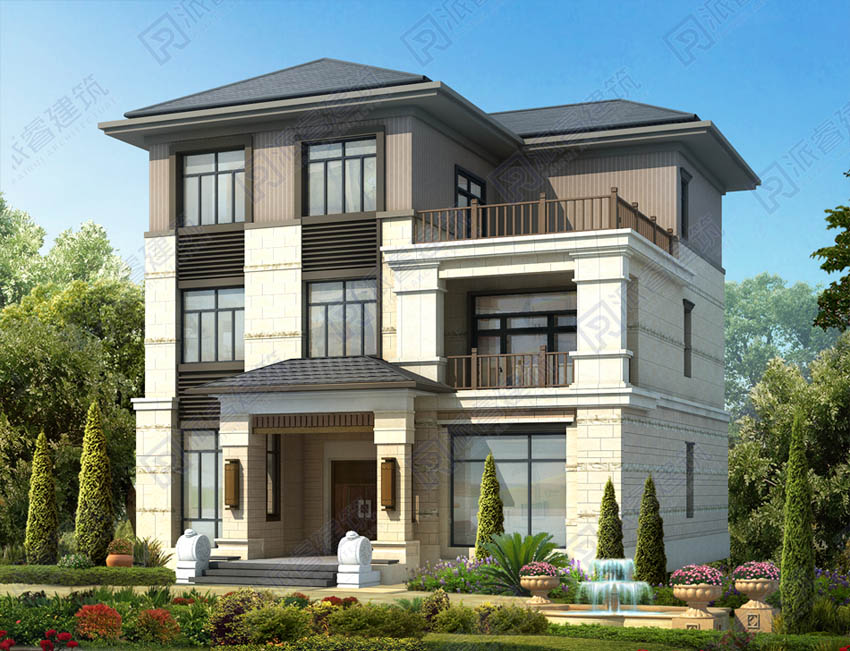 PR500-2020农村自建新中式三层别墅设计图_简雅朴实设计理念