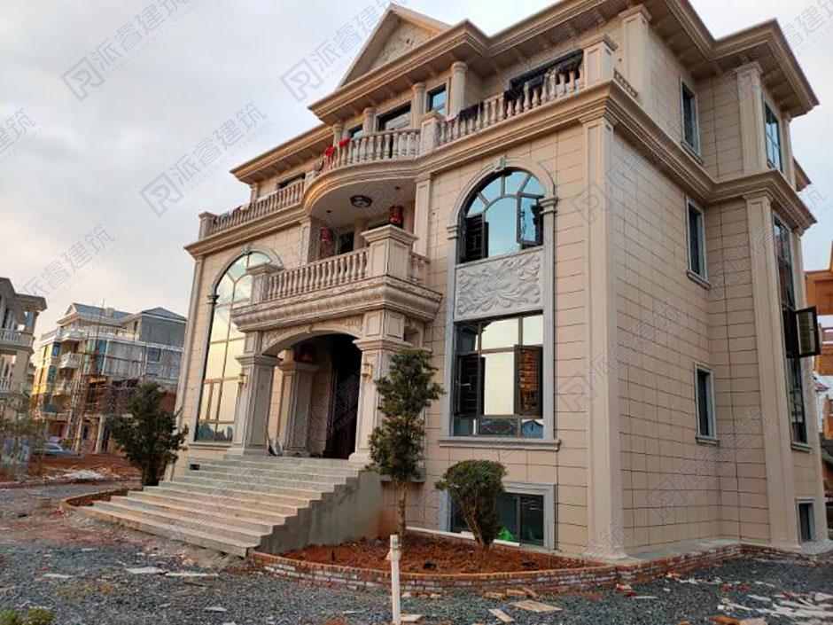 湖南娄底-农村自建房三层豪华复式别墅外观图纸及实景