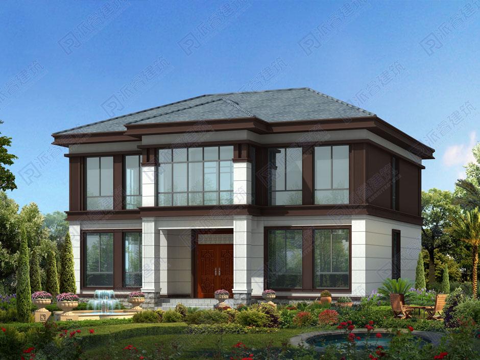 150平方农村自建房两层别墅设计图纸,新中式外观,四坡五脊房顶图片-PR257