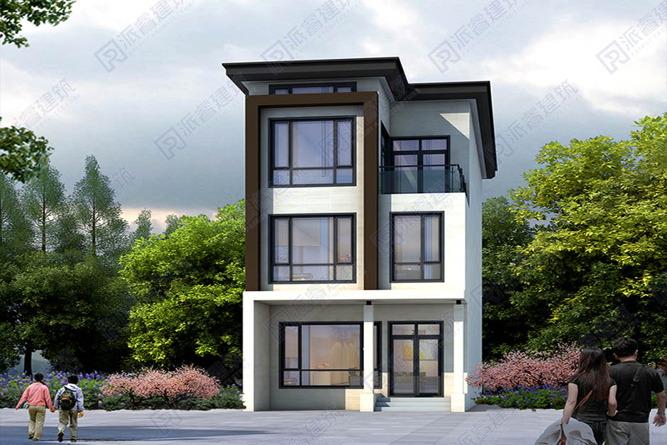 开间窄进深长的小面积农村自建房三层设计图纸6米x16米-PR504