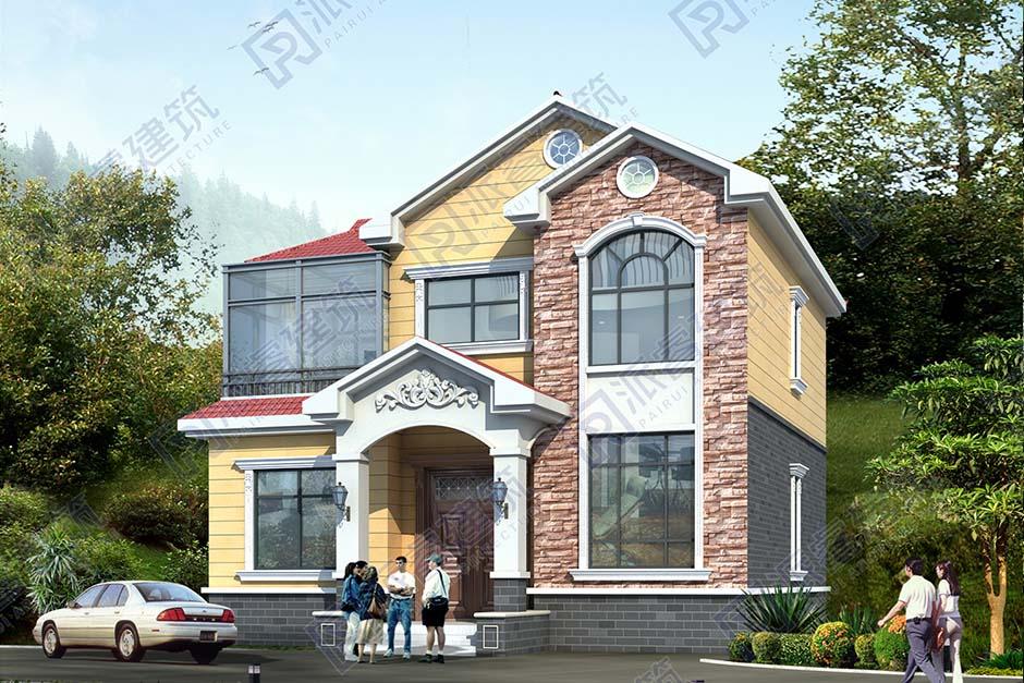 农村二层小面宽别墅外观效果图带露台和阳光房,2021新款好看又实用-PR537
