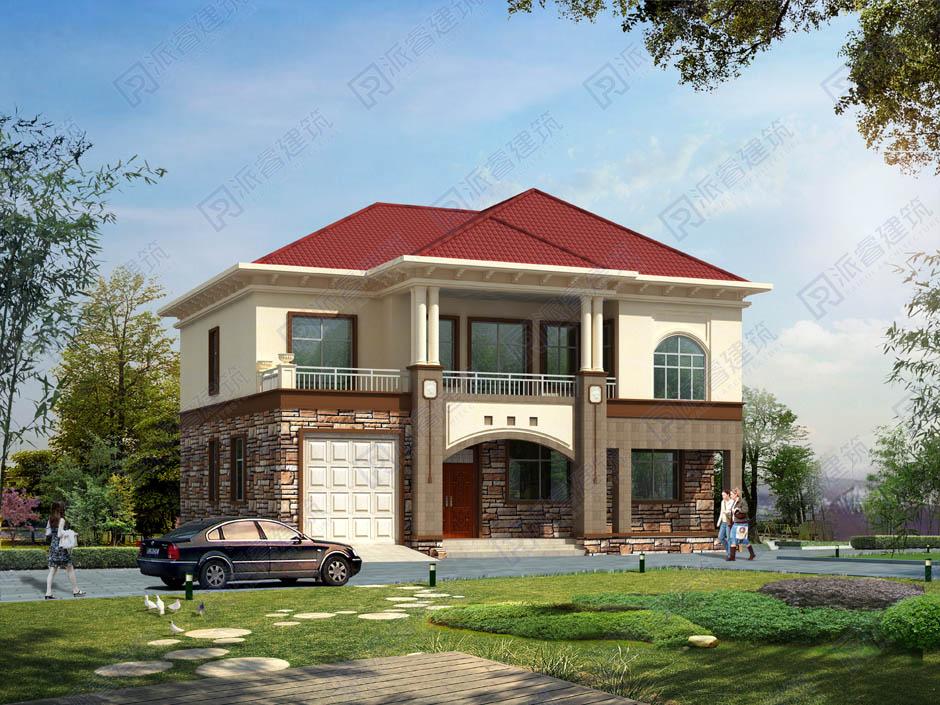 乡村别墅设计图纸及效果图,160平自建房设计图带车库-PR228