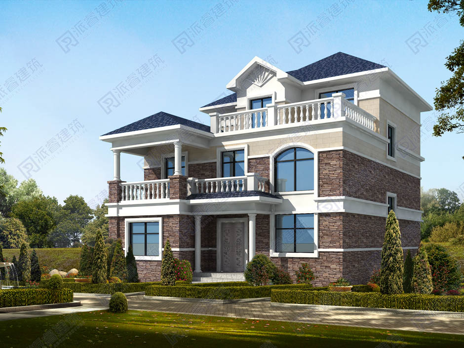 农村三层自建别墅设计效果图,占地130平三开间,大露台尽赏绿树青山-PR344