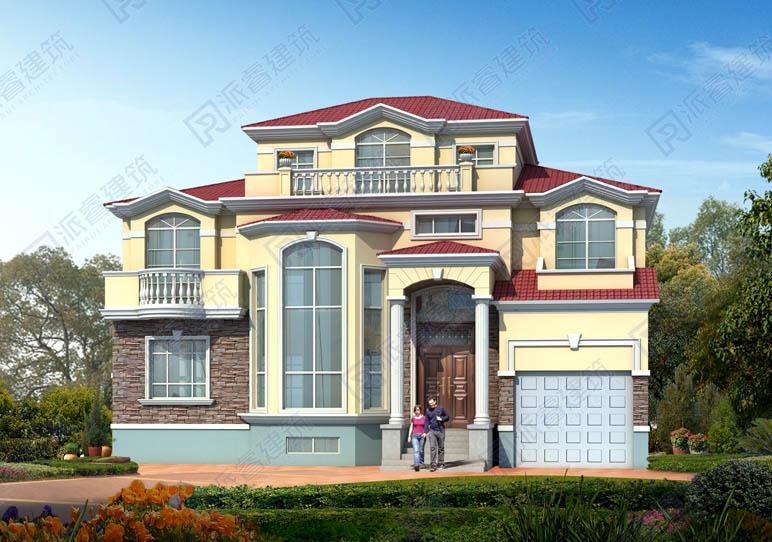 PR572-农村房屋设计图二层半|复式客厅带车库,浓浓的乡村田园风