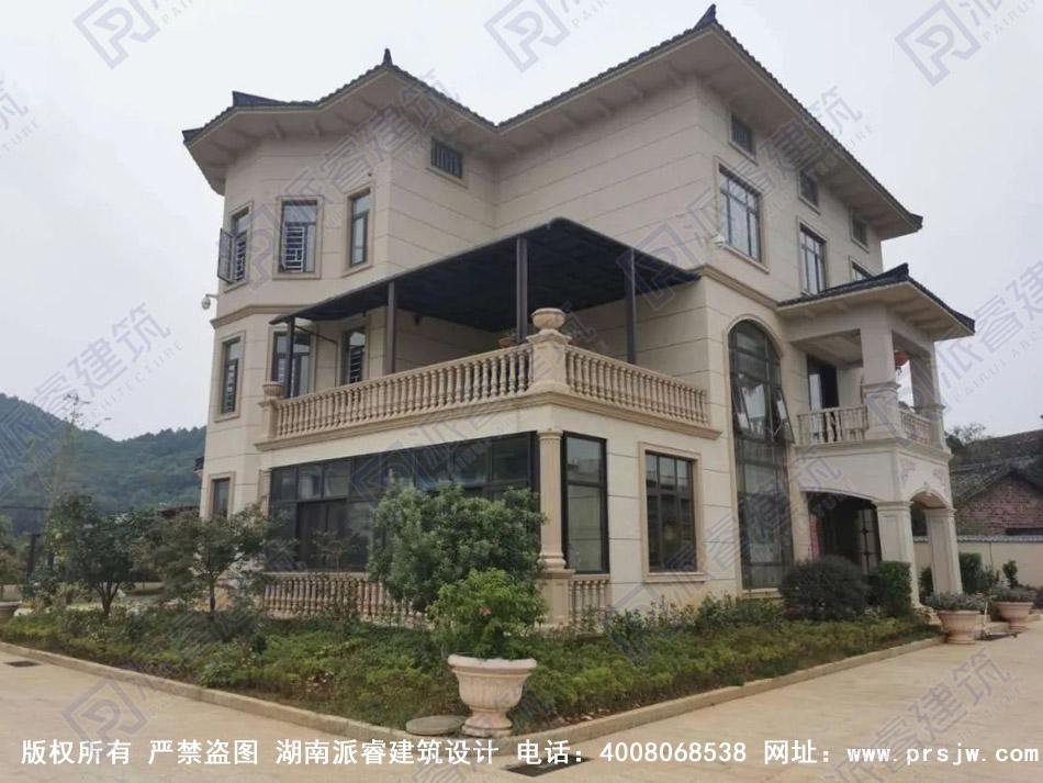 湖南宁乡-200平带八角窗三层豪华独栋别墅设计图|自建别墅图片