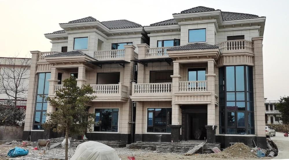 湖南邵阳-9米*13米三层农村兄弟双拼别墅复式户型设计图纸建成实景