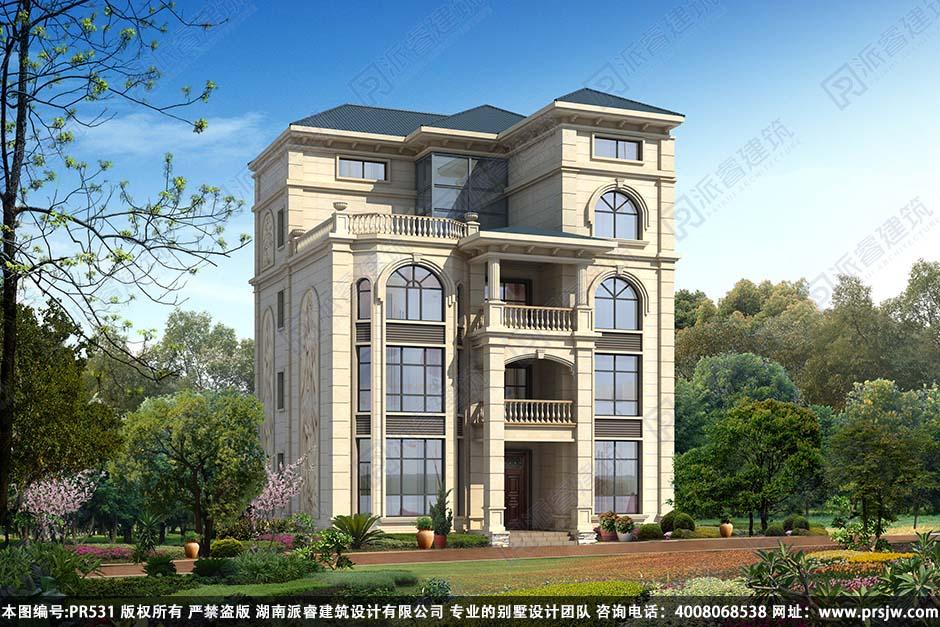 PR531-自建农村别墅四层设计-占地160平_农村独栋别墅设计图纸