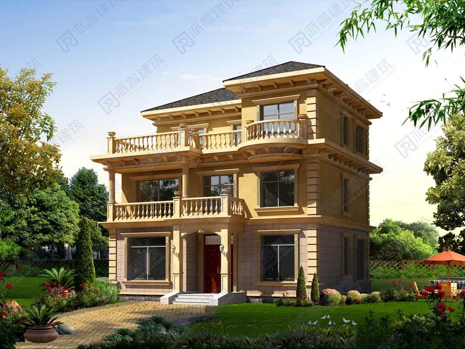 PR177-占地110平三层农村自建别墅设计图纸_带超大观景露台
