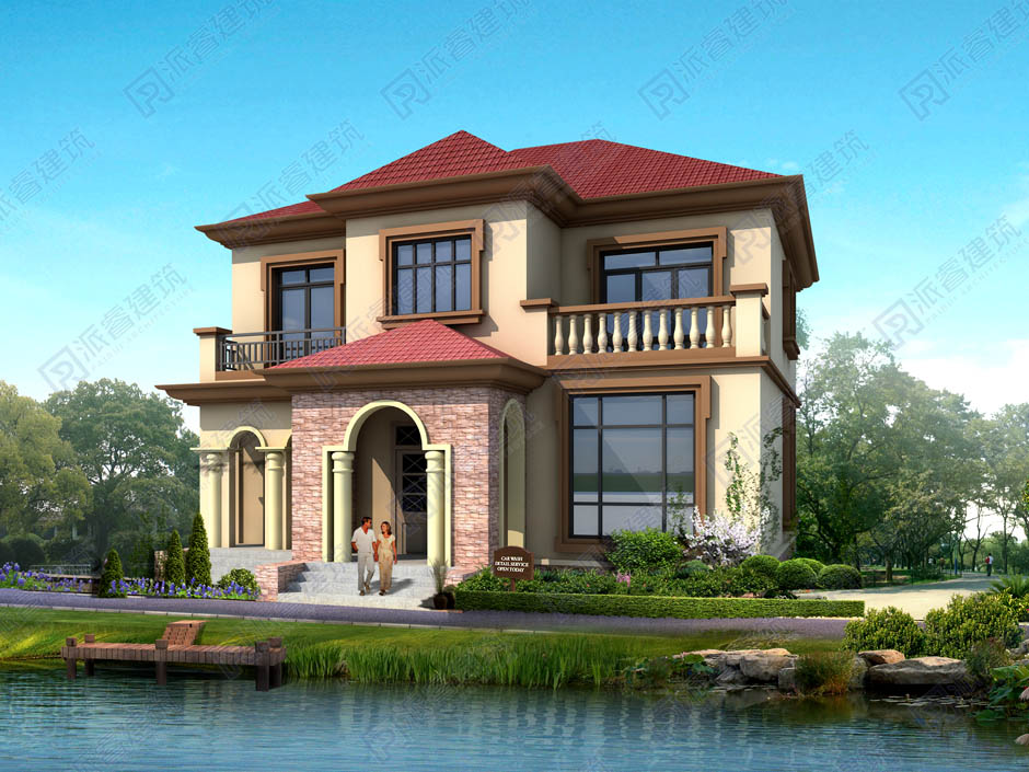 PR330 造价20多万的农村二层别墅带花园建筑设计图-派睿建筑