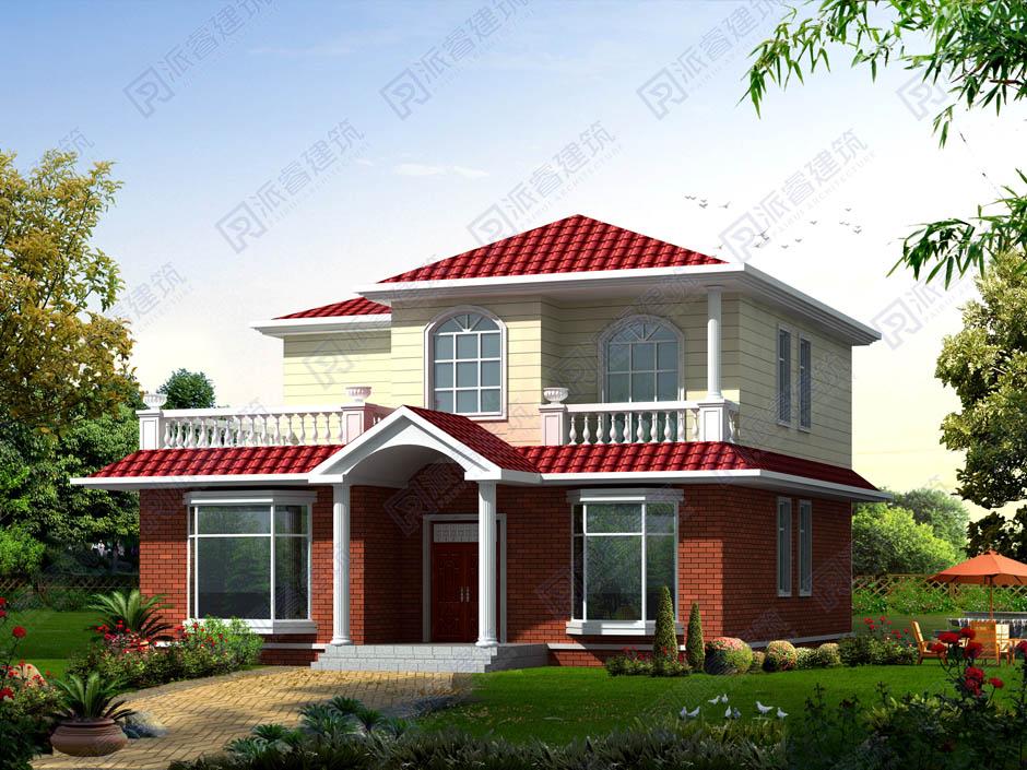 现在流行的农村二层小别墅建房图纸,美式田园风格外观效果图带露台-PR219