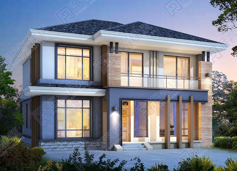 130平农村自建现代别墅设计图纸及外观效果图二层,开放式厨房-PR528