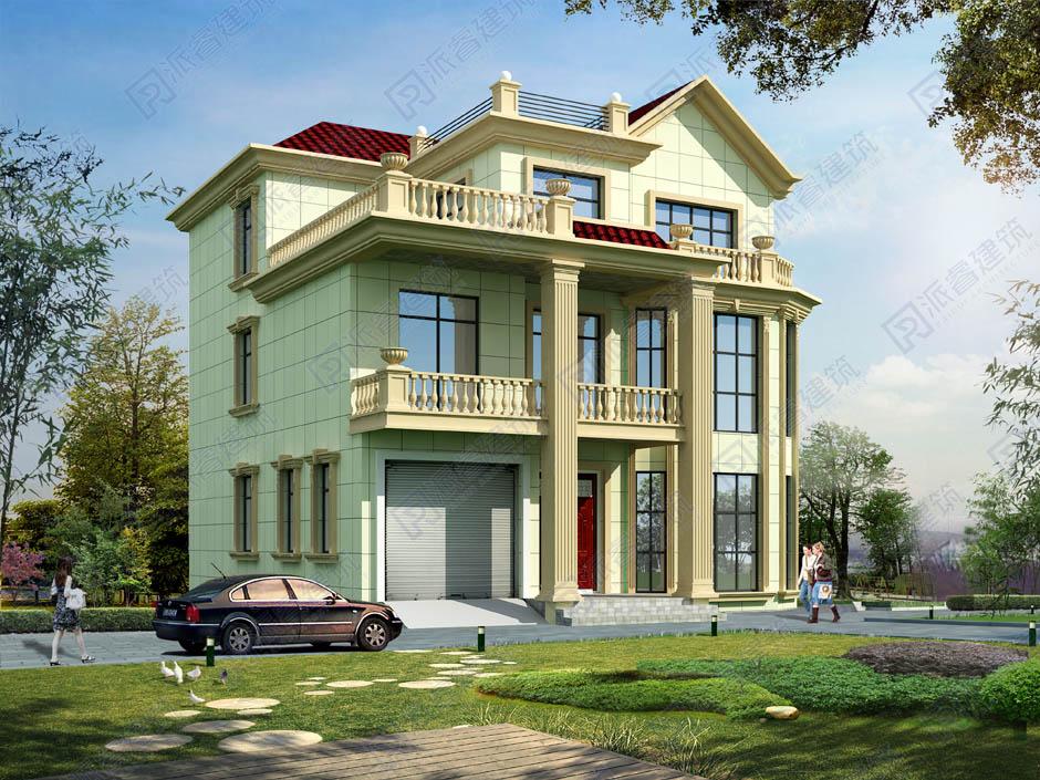 PR277-11米*12米农村三层自建别墅设计图带车库_八角楼造型的复式客厅