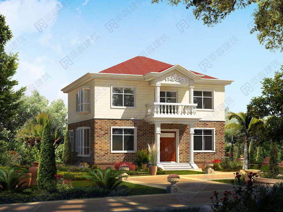 100平米农村小户型自建别墅二层,10米x10米房屋设计图,田园风格红色尖屋顶别墅图片-PR190