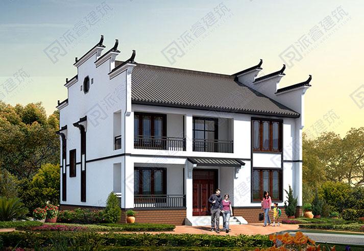 農村自建徽派建筑別墅設計效果圖二層,帶馬頭墻的中式房子外觀圖片-PR538
