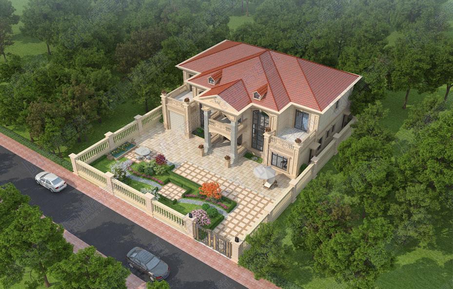 农村自建独栋别墅小型庭院设计效果图,简约精致小花园-PR707