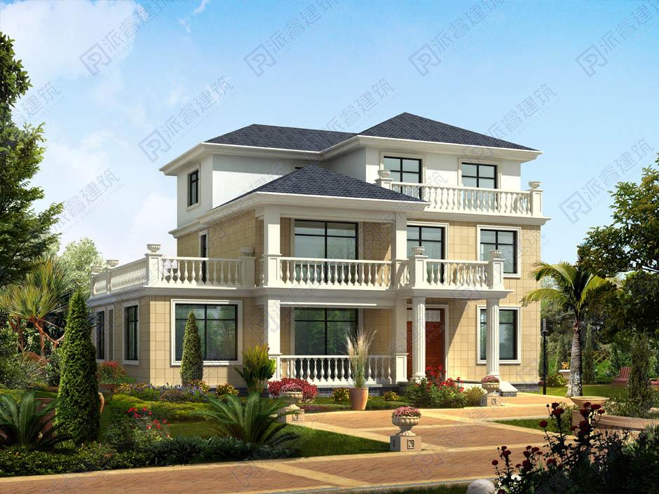 PR048 实用的三层框架结构别墅设计图纸及效果图