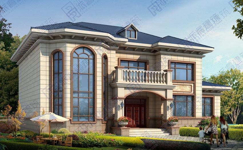农村自建复式挑空别墅设计图纸及效果图大全,豪华欧式外观,侧边带独立厨房-PR512