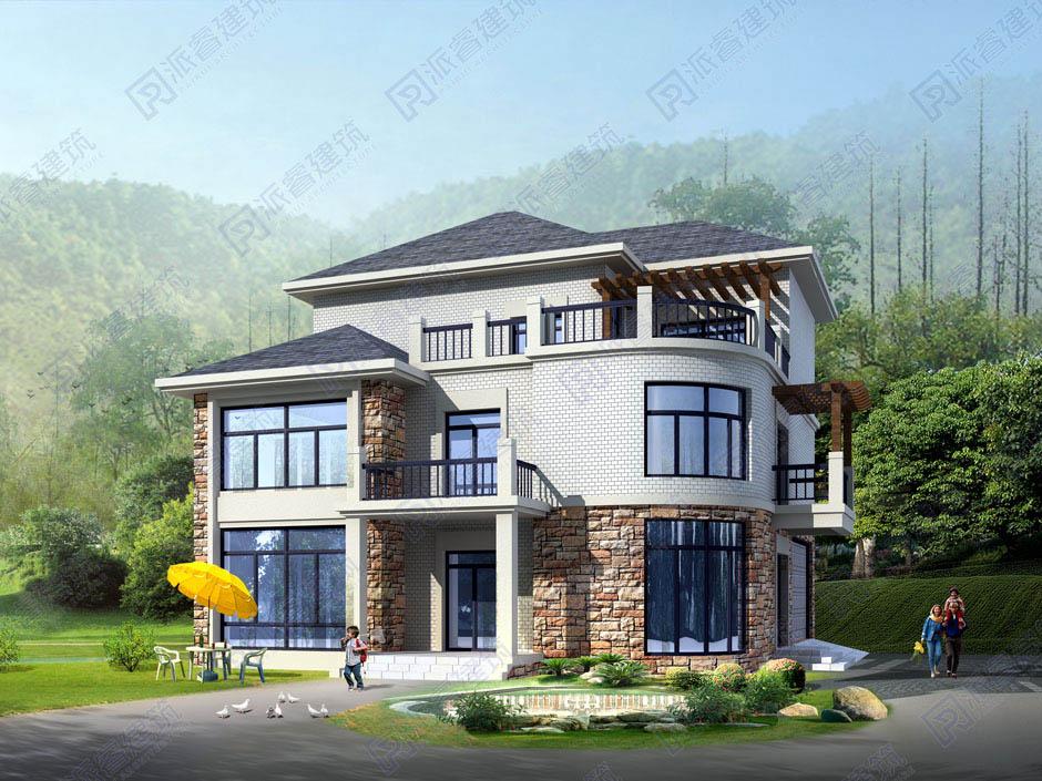 PR138 三层框架结构别墅设计图纸_别墅设计图纸,农村房屋设计图,农村自建房设计