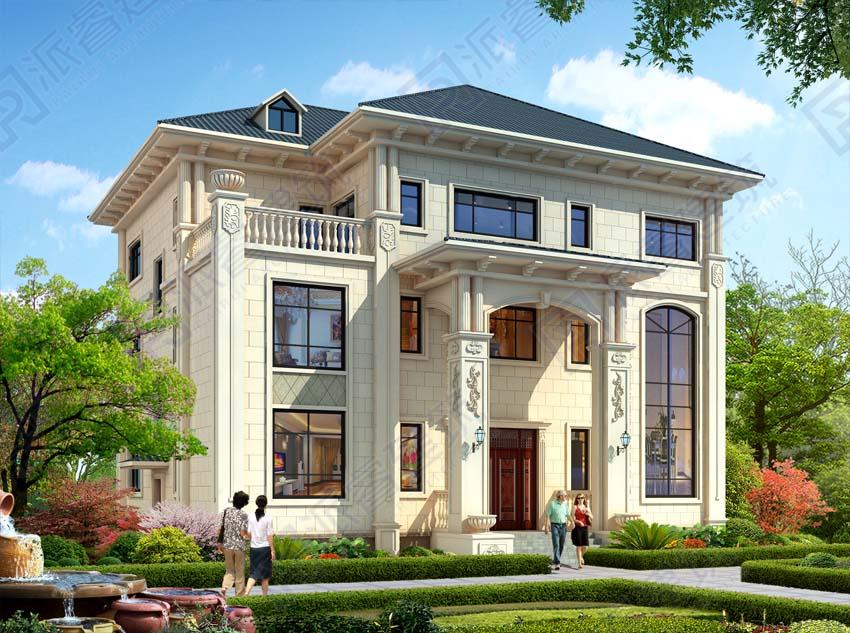 190平農村自建房設計圖三層高檔豪華別墅圖片,復式客廳帶神龕,典雅氣派-PR544