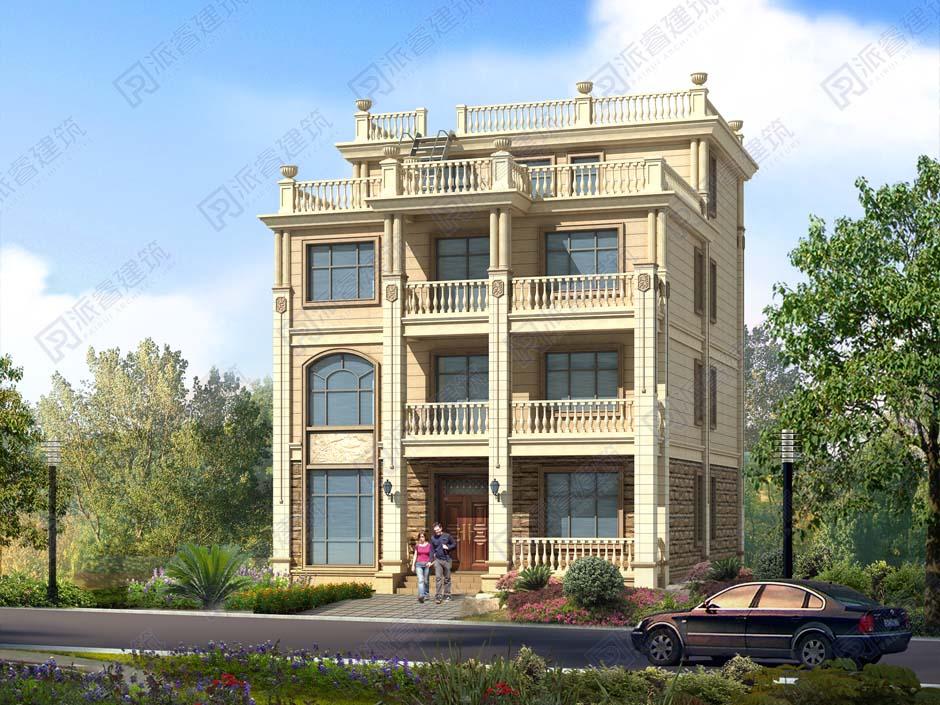 PR479 豪华欧式新农村自建房小洋楼别墅设计四层半房屋施工图,农村自建房设计图