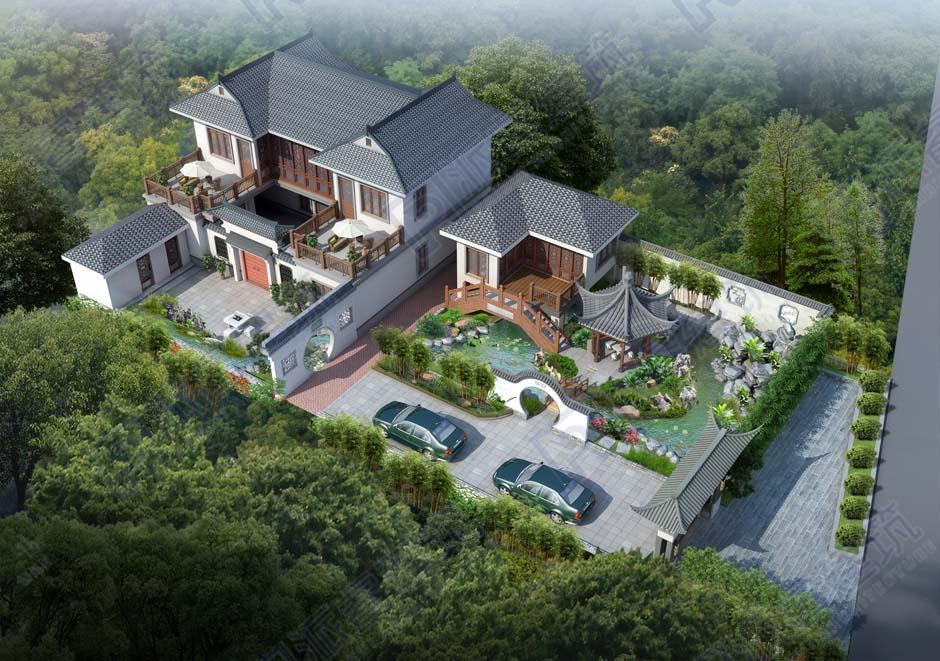 PR703-2021年新款中式别墅庭院设计效果图|曲径通幽,享受恬淡人生-派睿建筑