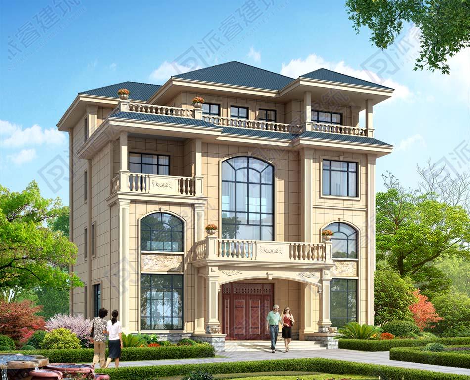 农村新款自建豪华四层楼房设计图纸及效果图大全,带堂屋和复式客厅,高档别墅设计-PR491