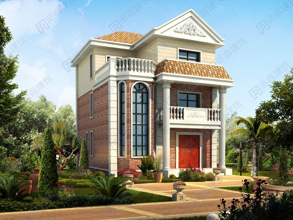 開間窄進深長的農村建別墅設計圖三層,寬8米x長11米房屋設計圖-PR349