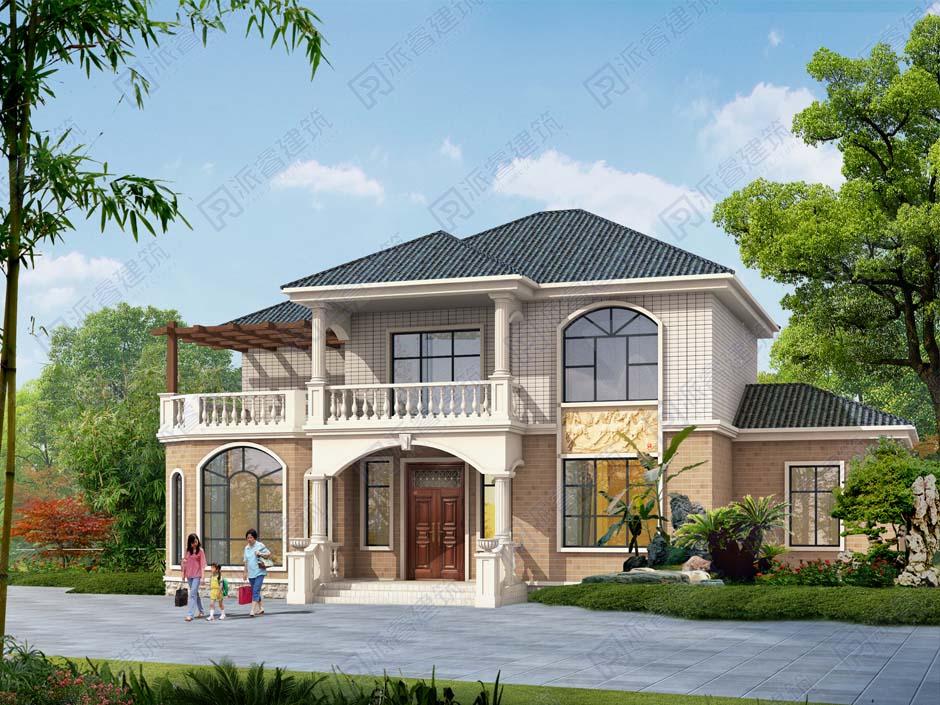 最新农村住宅建筑设计图二层独栋小别墅占地145平米_堂屋带神龛,外观清新,户型舒适PR485