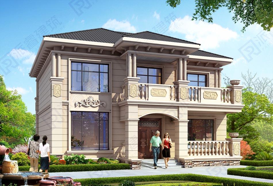 130平农村自建二层小别墅设计图纸,豪华欧式独栋外观效果图,造价30多万-PR550