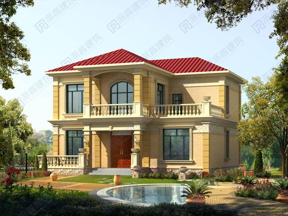 占地140平鄉村自建二層別墅設計圖紙,帶堂屋和四間臥室平面戶型圖-PR220