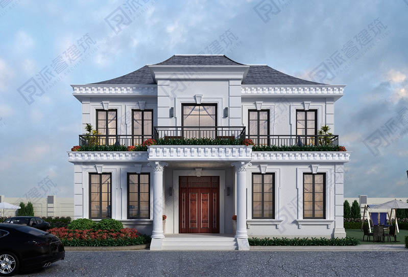 140平农村二层自建小别墅设计图纸及外观效果图,精致法式风格,舒适格局-PR554