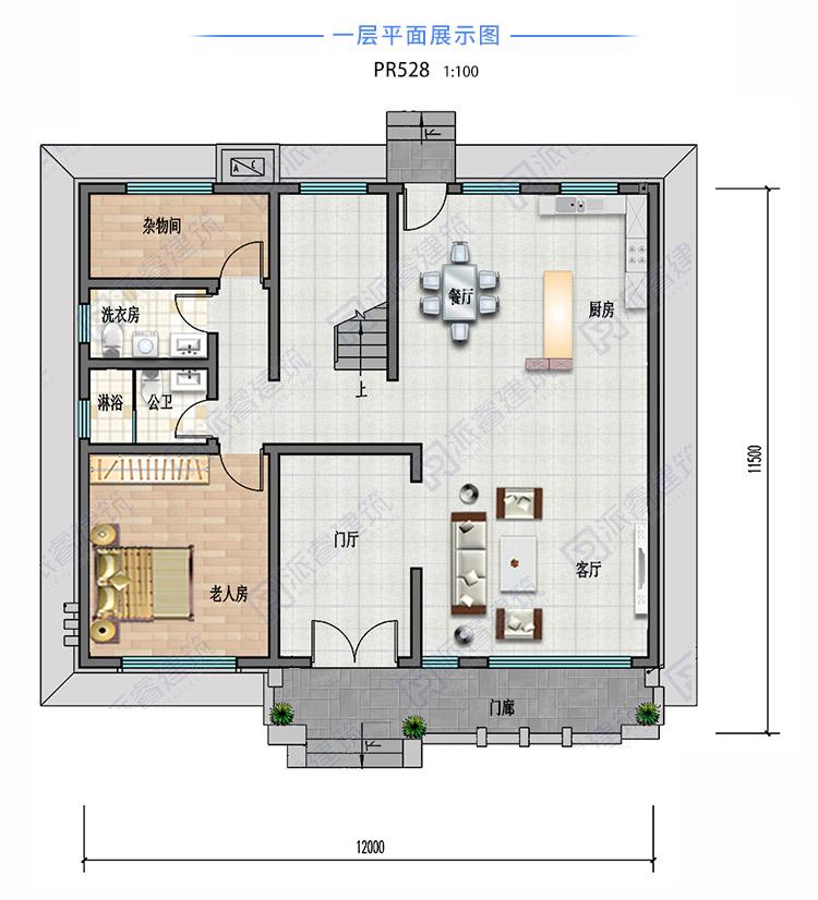 130平農村自建現代別墅設計圖紙及外觀效果圖二層,開放式廚房-PR528