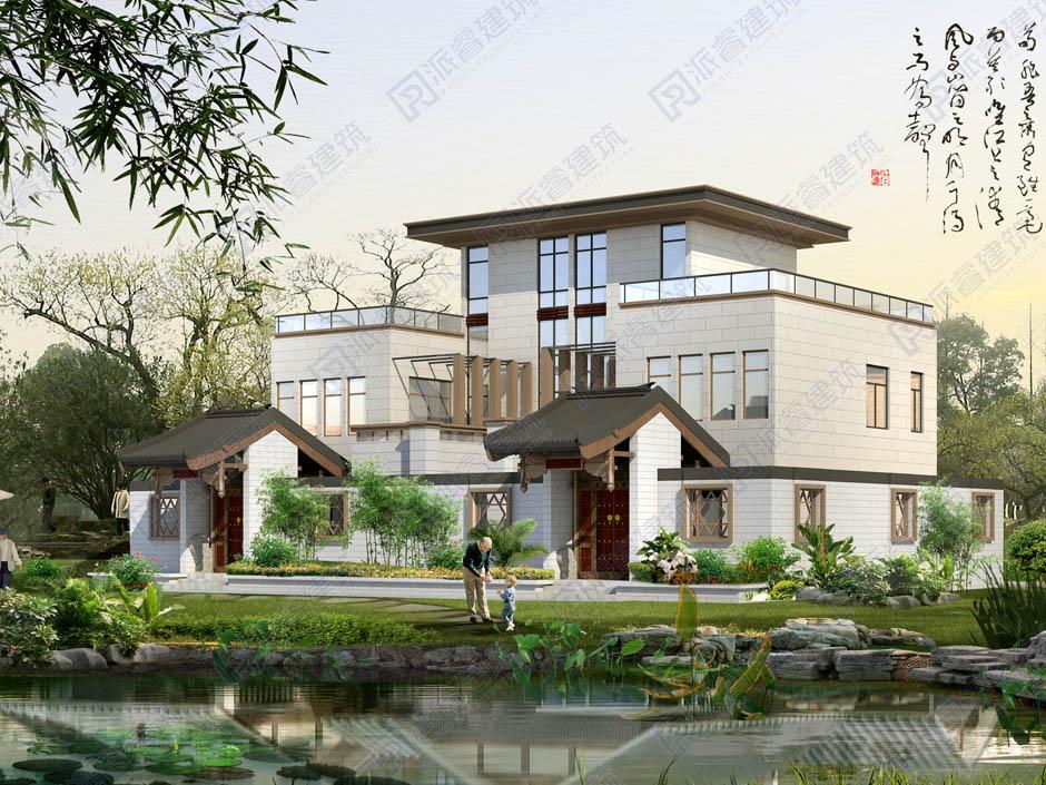 现代农村双拼联排别墅设计图三层19米x12米,独门独院带花园和露台-PR337