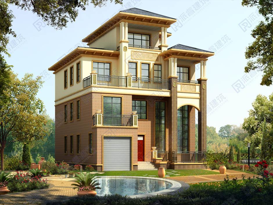 PR289 农村四层复式客厅带车库豪华别墅设计全套施工图纸,别墅图片,派睿建筑