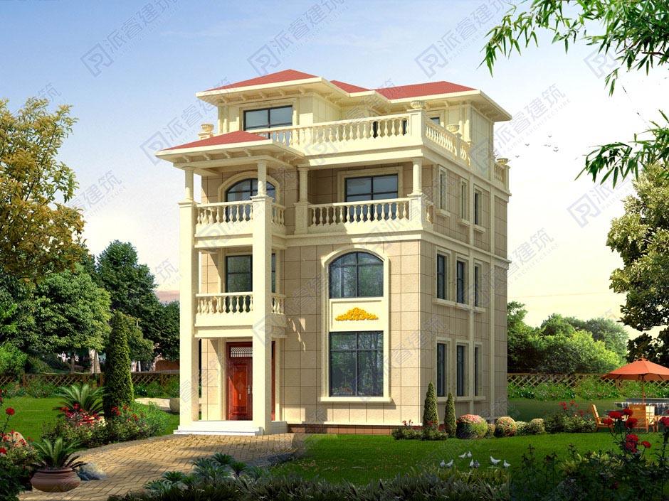 PR053 复式四层旋转楼梯别墅设计效果图及施工图