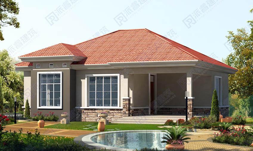 PR210 农村一层别墅设计户型图带阁楼150平米-派睿建筑