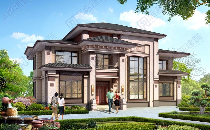 PR571-农村自建房二层新中式别墅设计图纸|四开间,复式客厅带堂屋效果图,恢宏大气