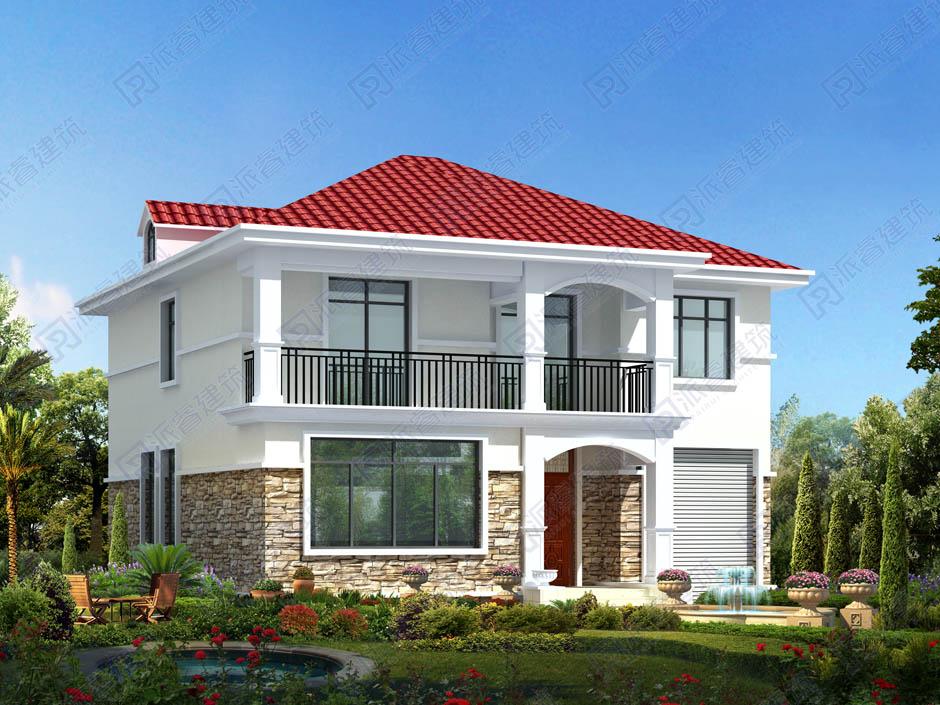 農村自建簡單二層別墅設計圖紙三開間帶車庫,造價20萬左右-PR019