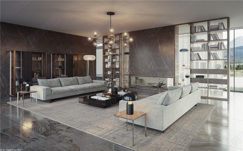 現代簡約室內設計客廳效果圖