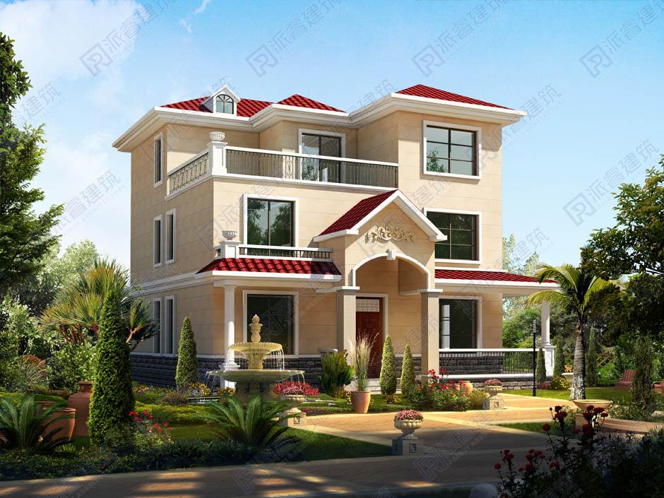 PR144-农村简单大气三层楼房设计图_农村最实用的自建房图片